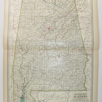 Vintage AL Map 1899 Century Map of Alabama, Southern US State Map, Antique Alabama Map,  Genealogy Research, Alabama Decor, Geography Art