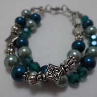 Gorgeous, Blue, Teal, Silver, Double Strand, Glass Bead, Pin Up Girl, Bracelet