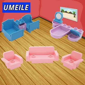 UMEILE Brand 10Pcs/set Original City Princess Girl Friend Bed Drawer Sofa Wash Tub Big Block Baby Toys Compatible with Duplo
