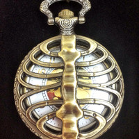 Bronze rib cage skeleton pocket watch necklace