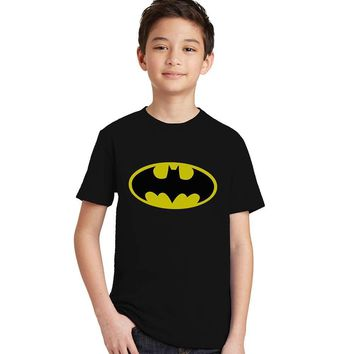 Batman Dark Knight gift Christmas Batman black t-shirt toddler/teen/kids 3 4 5 6 7 8 9 10 years old boys girls unisex casual tops tees superhero cosplay costumes AT_71_6