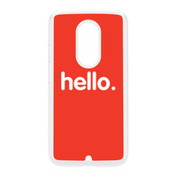 Hello White Hard Plastic Case for Moto X2 by textGuy