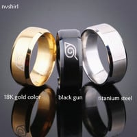 nvshirl 18K gold plated anti allergy 2016 New width 8mm men Naruto rings stainless steel classic women ring jewelry hot smnv041