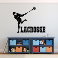 Lacrosse Wall Decals- Lacrosse Decal- Sports Wall Decal- Sports Decor- Lacrosse Player Vinyl Wall Decal Kids Teens Boys Girls Room Decor 096