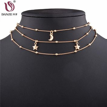 Danze Multilayer Choker Chain Necklace For Women Boho Style Alloy Star Moon Necklaces Pendants Colar Kolye Jewelry Collares