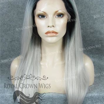 "24 inch Heat Safe Synthetic Straight Texture Lace Front ""Aphrodite"" in Rooted Gray/Silver"