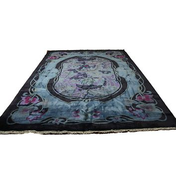 9x12 Overdyed Blue Purple Formal Floral Deco Wool Rug 2923