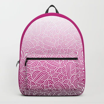 Ombre pink and white swirls doodles Backpack by Savousepate