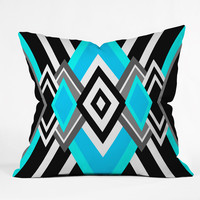 Elisabeth Fredriksson Turquoise And Black Throw Pillow