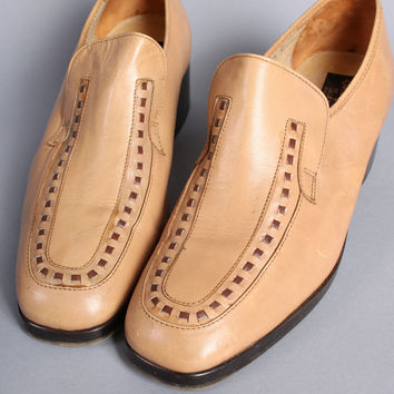 MEN'S 70s PLATFORM SHOES / 2-Tone Tan Disco Loafers, 9.5