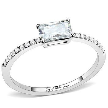 A Perfect .5CT Emerald Cut Solitaire Russian Lab Diamond Engagement Ring
