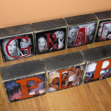 GRAD Photo Blocks- set of 4 Letter Blocks in your school colors- Graduation Party GIFT or Party Decor
