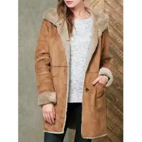 Stylish Flocking Long Sleeve Suede Hooded Coat For Women