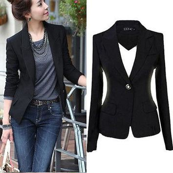 GL Hot Fashion 2016 Women's One Button Slim Casual Business Suit Jacket Outwear Black Jackets