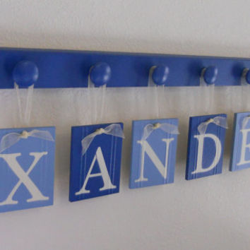 Blue Baby Nursery Wall Art Personalized Names Sign Custom Kids Hanging Wood Letters XANDER Set Includes 6 Hooks