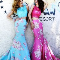 Floral Print Two Piece Sherri Hill Dress 32073