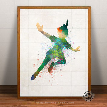 Peter Pan Print Watercolor, Peter Pan Poster, Disney Art, Illustration, Watercolour, Giclee Wall, Kid Artwork, Comic, Fine, Home Decor
