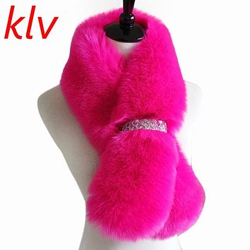 KLV Hot! Fashion Sequin Fur Imitation Fox Fur Collar Scarf Shawl Collar Women's Wrap Stole Scarves 8 Colors Option SF001