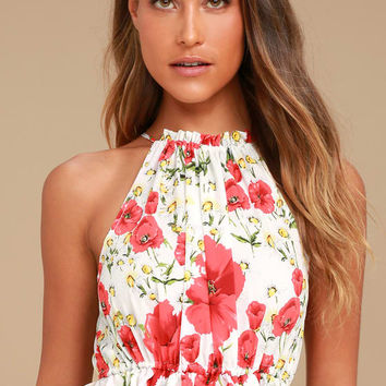 Nostalgia White and Red Floral Print Crop Top
