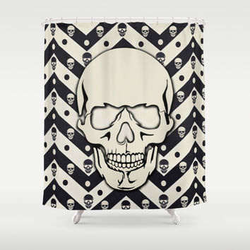 Hipster Chevron Skull Shower Curtain by Kristy Patterson Design