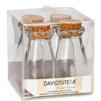 """Mini Glass Milk Bottles with Cork Stoppers3.75"""" Tall4 per Pack"""