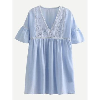 Eyelet Embroidered Lace Trim Babydoll Dress