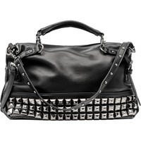 Gothic leather-look satchel bag black with studs