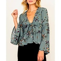 olivaceous - floral bell sleeve blouse - teal
