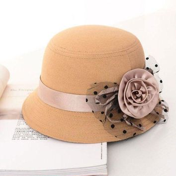 ONETOW Retro Solid Trendy Ladie Women Beach Woolen Felt Bowler Derby Fedora Hats Caps L34
