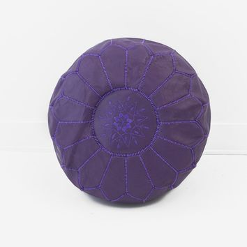 Moroccan Leather Pouf, Purple