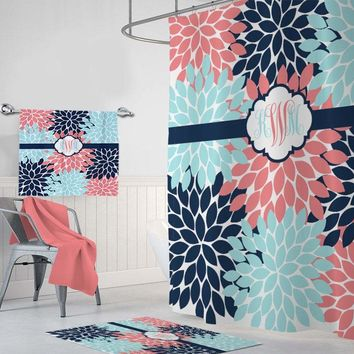 Coral Navy Aqua Flower SHOWER CURTAIN, Coral Navy Aqua Flower Bathroom Decor, Custom MONOGRAM Personalized, Bathroom Curtain Towel Mat Set