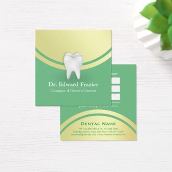 Cosmetic & General Dentist Appointment Green Gold Square Business Card
