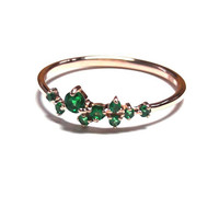 Dainty Emerald Ring-Gold Ring-Emerald Ring-925K Silver Handmade Zirconia Ring