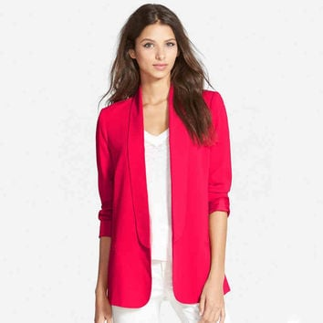 None Button Long-Sleeve Blazer
