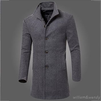 Men Slim Large Size Wool Blend Peacoat Autumn Winter Warm Jacket Cashmere Cotton Down Coat Classic Black Long Korean Overcoat XL