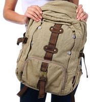 Canvas School Backpack with Front Buckled Pocket