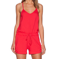 Bobi Supreme Jersey V Neck Romper in Red