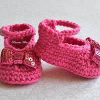 Crochet Baby Shoes -Pink Baby Mary Janes, Infant Shoes, Newborn Booties