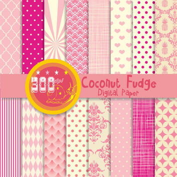 Pink digital paper, pink patterns, pink backgrounds with soft pink hues 'coconut fudge'  x 16