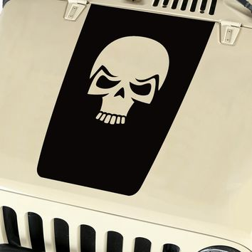 Hood Blackout Skull Vinyl Decal Sticker (19) fits: Jeep Wrangler JK TJ YJ