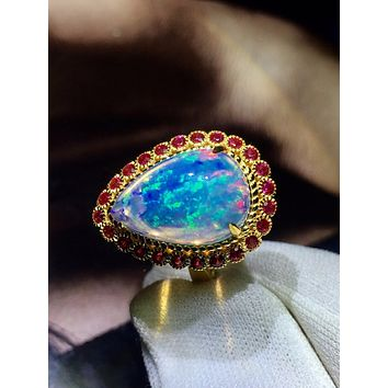 A Sparkling 18K Yellow Gold Natural 5.3CT Blue Opal & Red Ruby Engagement Ring