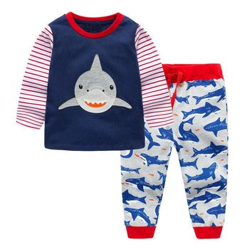 Dinosoaur Boys Clothing Set Children Sports Suits Kids Fashion Print Autumn Baby Clothes Animal Applique Tops Pants Outfits Dino