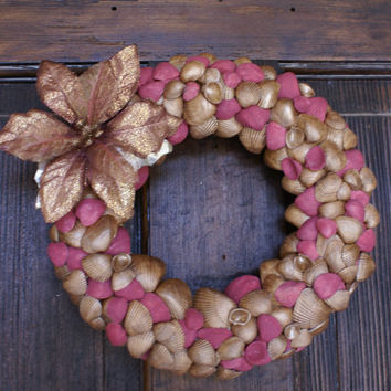 Christmas in July, Christmas wreath, 8.5. inches, seashell wreath, Holiday wreath, coastal, beach, cottage chic, gold, sea shell