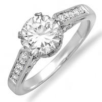 Platinum New Vintage Crown Victorian Diamond Engagement Ring