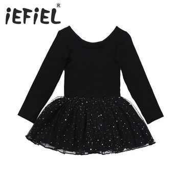 Cute Children Girl Dancer Leotard Sequined Ballet Dress Kids Dance Costumes Skate Dress Girls Gymnastics Workout Ballerina Dress