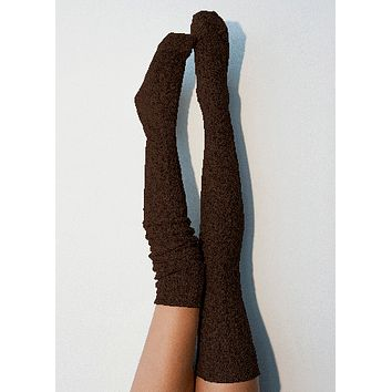 Coffee Marled Cable Knit Thigh High Socks, OTK Thigh Highs, Stockings, PM-088BR
