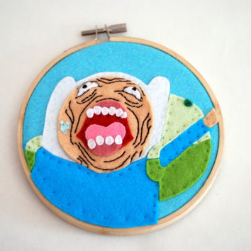 Finn from Adventure Time Embroidery Hoop.