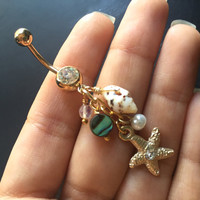 Belly Button Rings Starfish Abalone Jewelry Real Seashell Shell Beach Mermaid Gold Star Fish Pearl Opal Charm Navel Piercing Bar Barbell