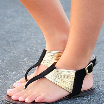 Home At Last Sandals: Black/Gold