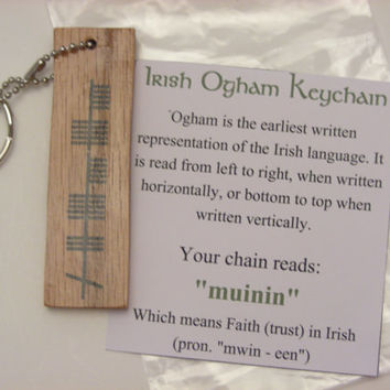 "Wood Irish Ogham Keychain ""muinin"" for Faith - Trinity Crossing"